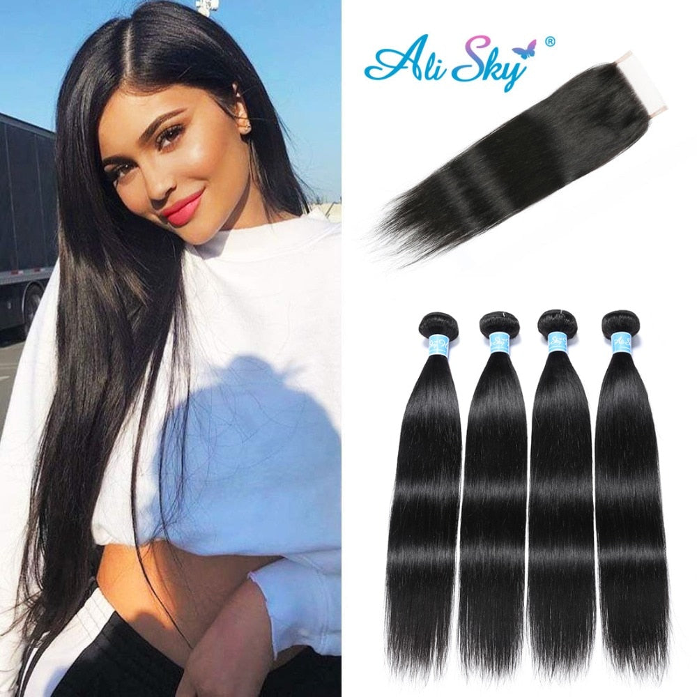 "habazoo - Raw Indian Straight Hair Bundles 4 Bundles With Closure Human Hair Bundles With Closure Ali Sky 4""x4"" Top Lace Closure Non Remy - Habazoo -"