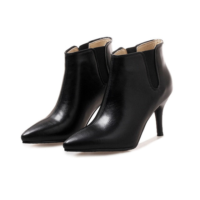 habazoo - Pointed Toe High heel Women Boots Casual Fashion Cheap Ankle Boots Women Shoes Thin Heel Plus Size Boots Shoes - Habazoo -