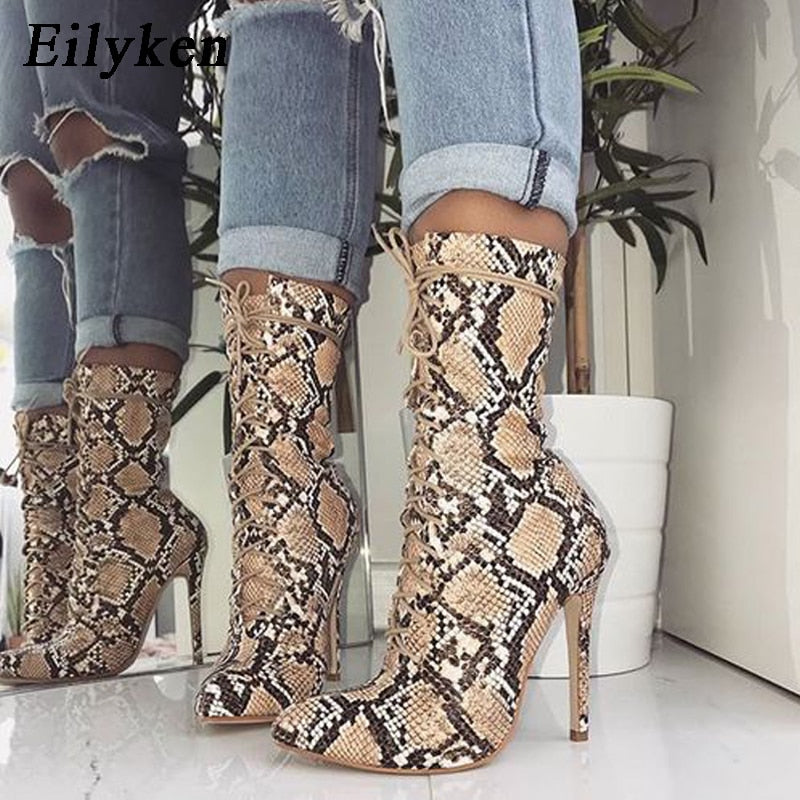 habazoo - New Lace-Up Women Boots Snake Print Ankle Boots High heels Fashion Pointed toe Ladies Sexy shoes Chelsea Boots - Habazoo -