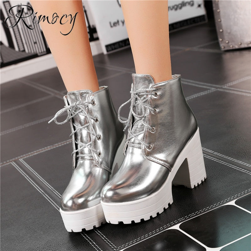 habazoo - ankle boots for women silver patent leather shoes woman high heels platform boots large size - Habazoo -
