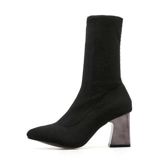 habazoo - Ankle Elastic Sock Boots Chunky High Heels Stretch Women Autumn Sexy Chelsea Boots Pointed Toe Women Pumps - Habazoo -
