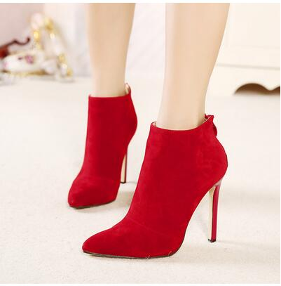 habazoo - Black Women Red Wedding Shoes Back Zipper Pointed Toe High Heel Boots Shoes Woman Ankle Boots Size 889 - Habazoo -