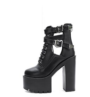 habazoo - Women Boots 16CM  Platform Buckle Strap Lace Up Leather Short Sandals Boot Black Ladies  Shoes - Habazoo -
