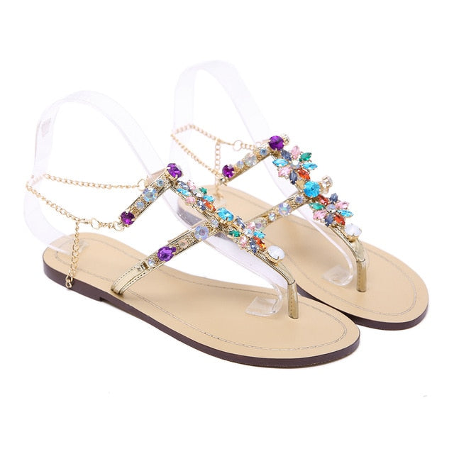habazoo - Plus Size Rhinestones Chains Thong Gladiator Flat Sandals - Habazoo -