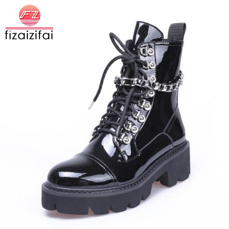 habazoo - High Heels Ankle Boots  Lace Up Patent Leather Platform Shoes Woman Designer Gothic Boots Size 34-39 - Habazoo -