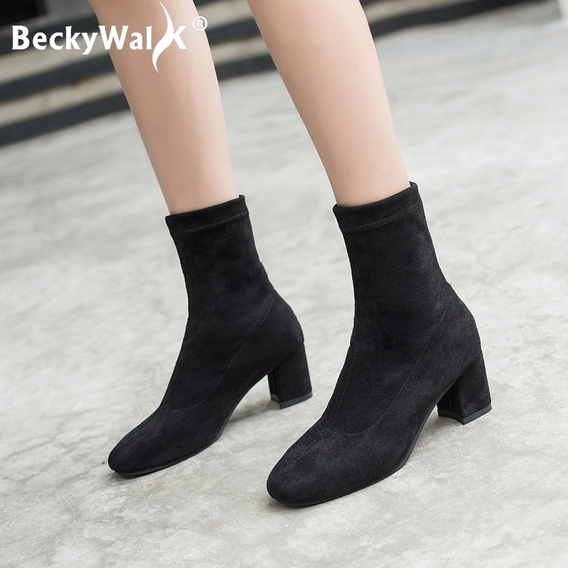habazoo - Women Boots Thick High Heels Fashion Ladies Shoes Stretch Lycra Pointed Ankle Boots Shoes - Habazoo -