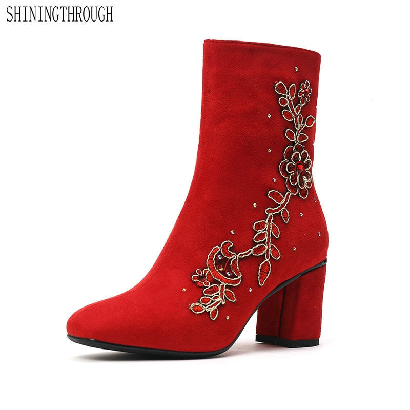 habazoo - Women wedding boots woman high heels ankle boots red flower ladies shoes woman autumn winter boots large size 43 - Habazoo -