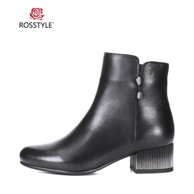 habazoo - British Style High Quality Genuine Leather Solid Zipper Boot Comfortable Round Toe Boot Med Heels Ankle Boot Women B87 - Habazoo -