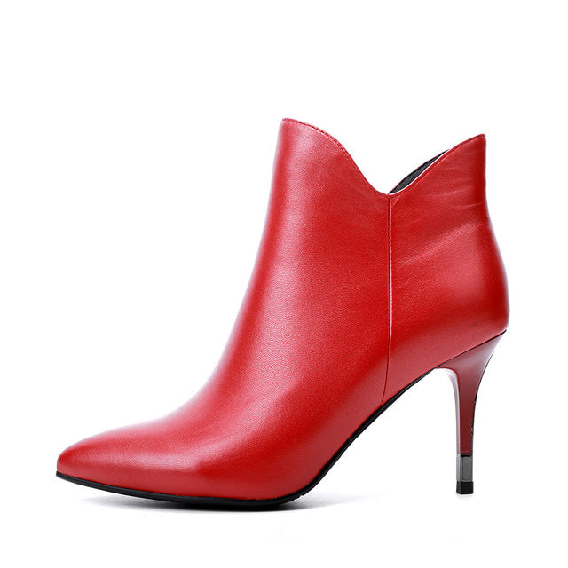 habazoo - Elegant Mature Woman Ankle Boot Red High Quality Genuine Leather Sexy High Thin Heel Shoes Classic Pointed Toe Boot B89 - Habazoo -