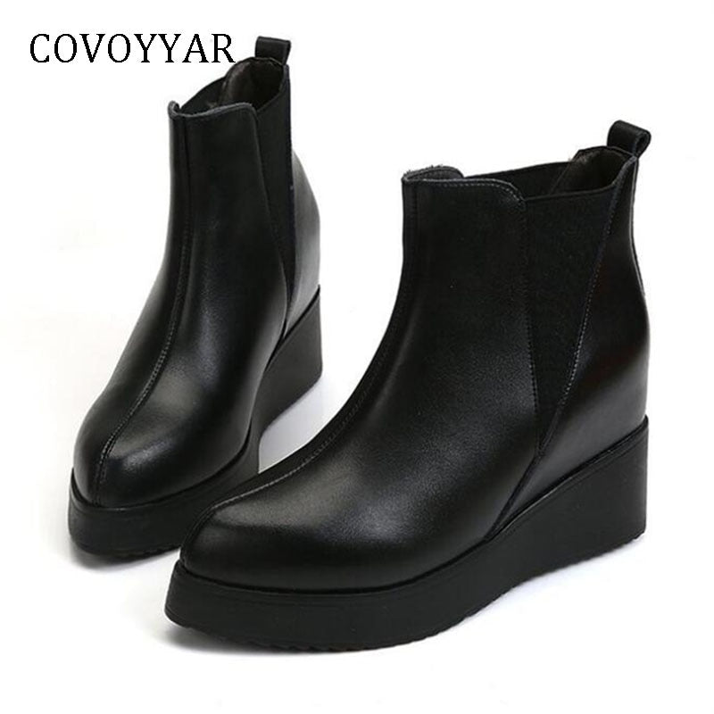 habazoo - Wedges Ankle Boots Fashion Platform Pointed Toe Women Boots Hidden Heel Black Shoes Women Booties - Habazoo -