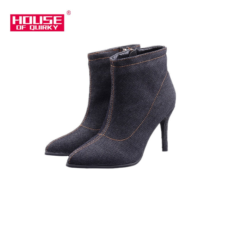 habazoo - Women High Heels Boots Winter Autumn Sexy Zipper Pointed Toe cowboy Ankle Boots Female warm denim Boots stilettos large size 41 - Habazoo -
