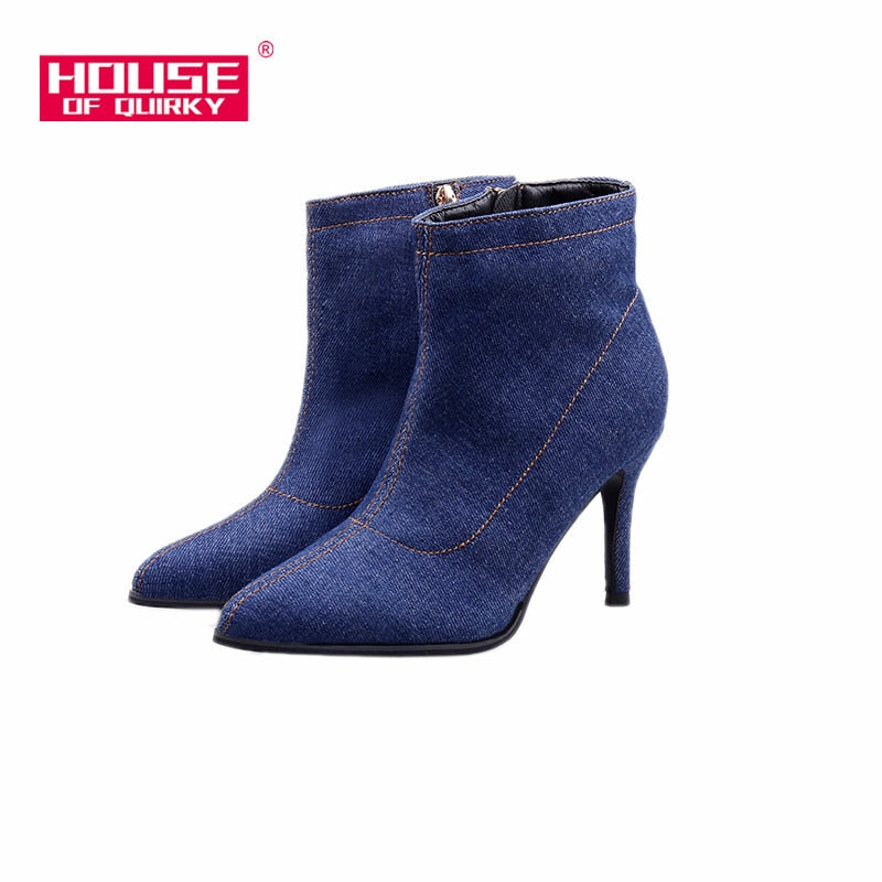 habazoo - High Heels Boots Women Shoes Women Boots cowboy Ankle Boots Sexy Zipper Pointed Toe bottes big size 35-41 - Habazoo -