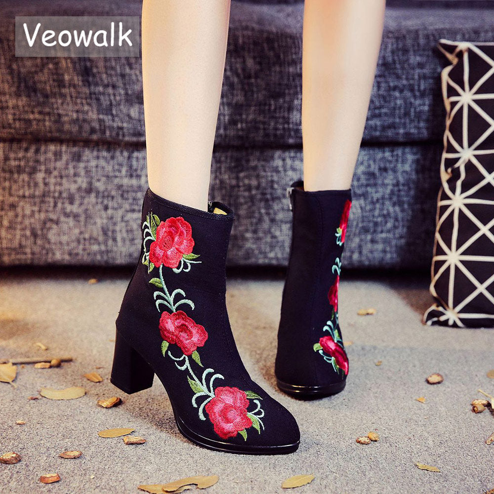 habazoo - High End Floral Embroidered Women Cotton Short Ankle Boots Ladies Casual Block High Heel Pumps Shoes for Elegant Ladies - Habazoo -
