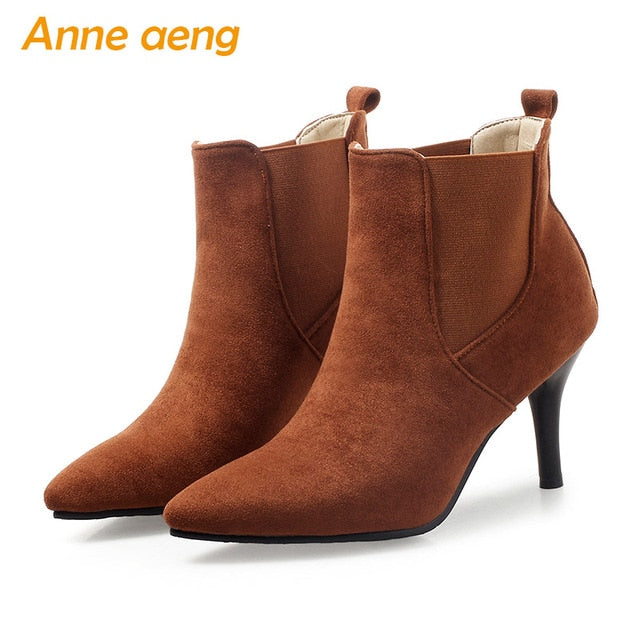 habazoo - women boots high thin heels ladies ankle boots elastic band elegant women shoes wine red warm boots big size 33-46 - Habazoo -