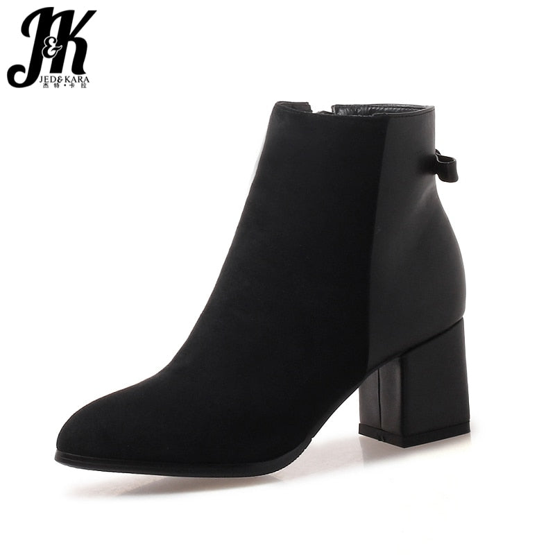 habazoo - JK Thick High Heels Ankle Women Boots Round Toe Zip Footwear Pu Female Boot Flock Shoes Women 2019 New Plus Size 33-43 Shoes - Habazoo -