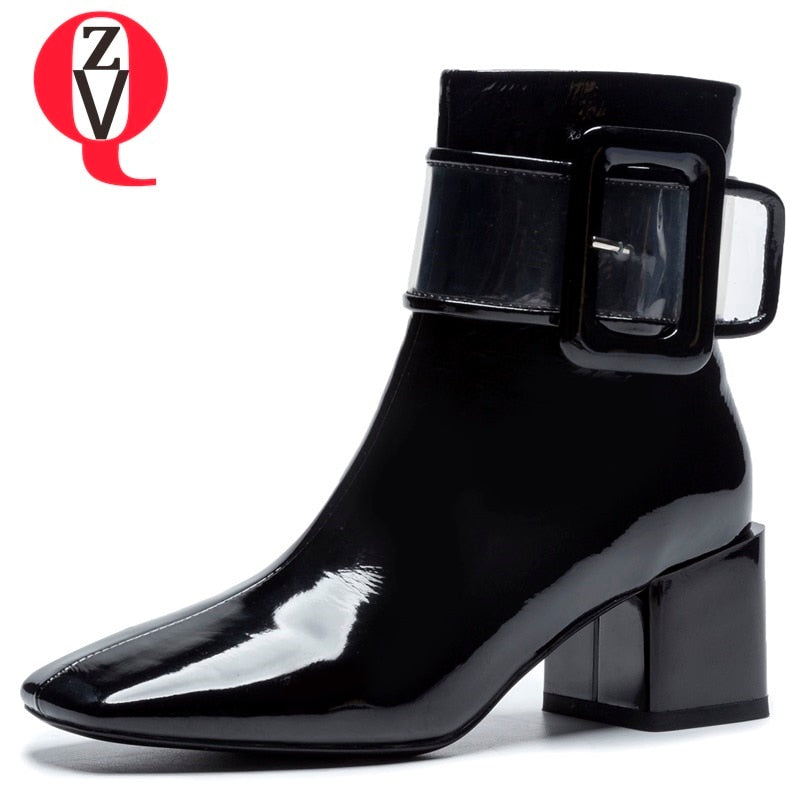 habazoo - new fashion patent leather boots women square toe high square heel zipper black beige ankle boots - Habazoo -