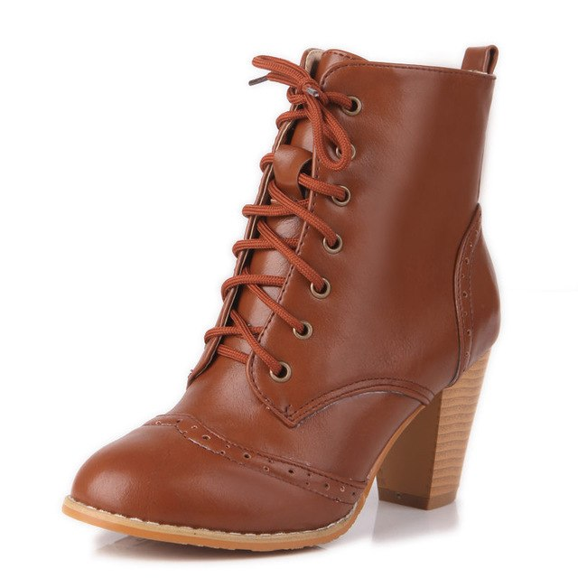 habazoo - new ankle boots simple high heels women boots autumn winter fashion round toe boots big size shoes 33-48 - Habazoo -