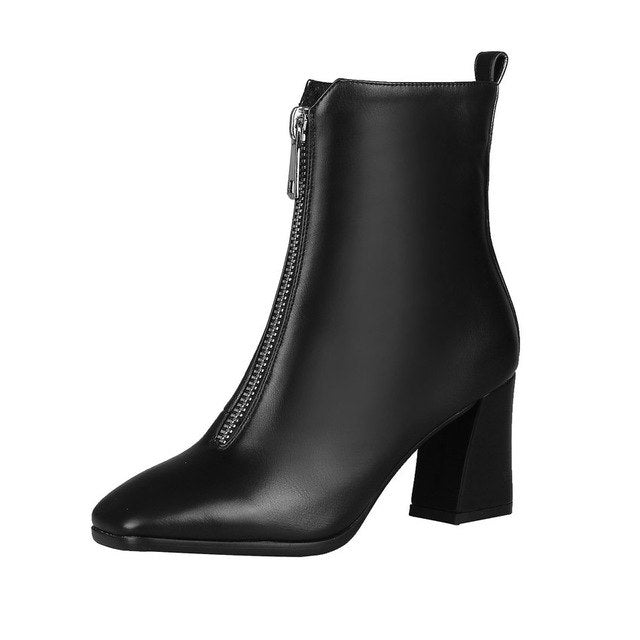 habazoo - Women Ankle Boots Square High Heel Winter Boots Fashion Women Shoes Pu Leather Zipper Casual Women Boots Size 34-43 - Habazoo -