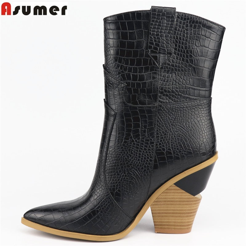 habazoo - New fashion Ankle Boots Women Pointed Toe Autumn Winter Boots Thick High Heels Women's Boots Lady - Habazoo -
