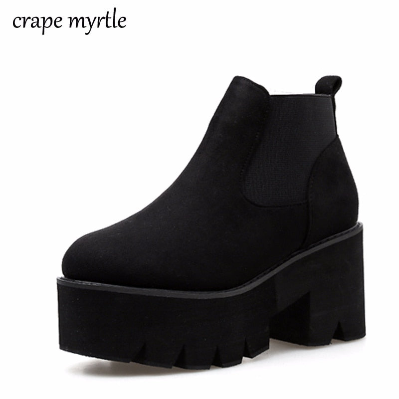 habazoo - punk boots bottes femmes platform boot fall shoes women ankle boots winter high heel shoes motorcycle boots women fashion YMA531 - Habazoo -