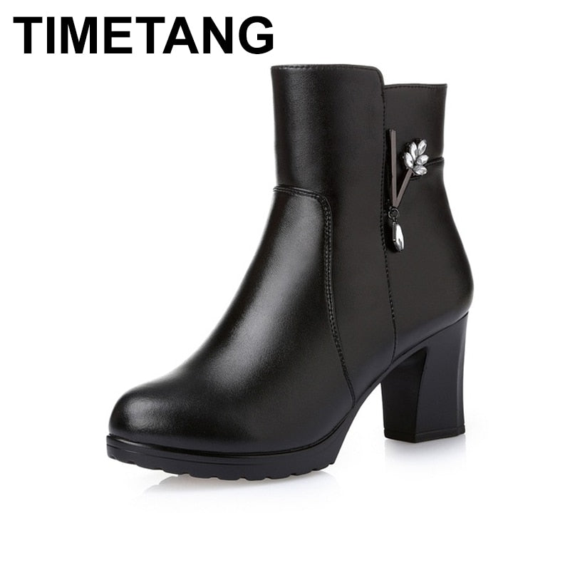 habazoo - Women Ankle Boots Square High Heel Boots for Woman Fashion Zip Black Autumn Winter Womens Boots Genuine Leather Shoes - Habazoo -