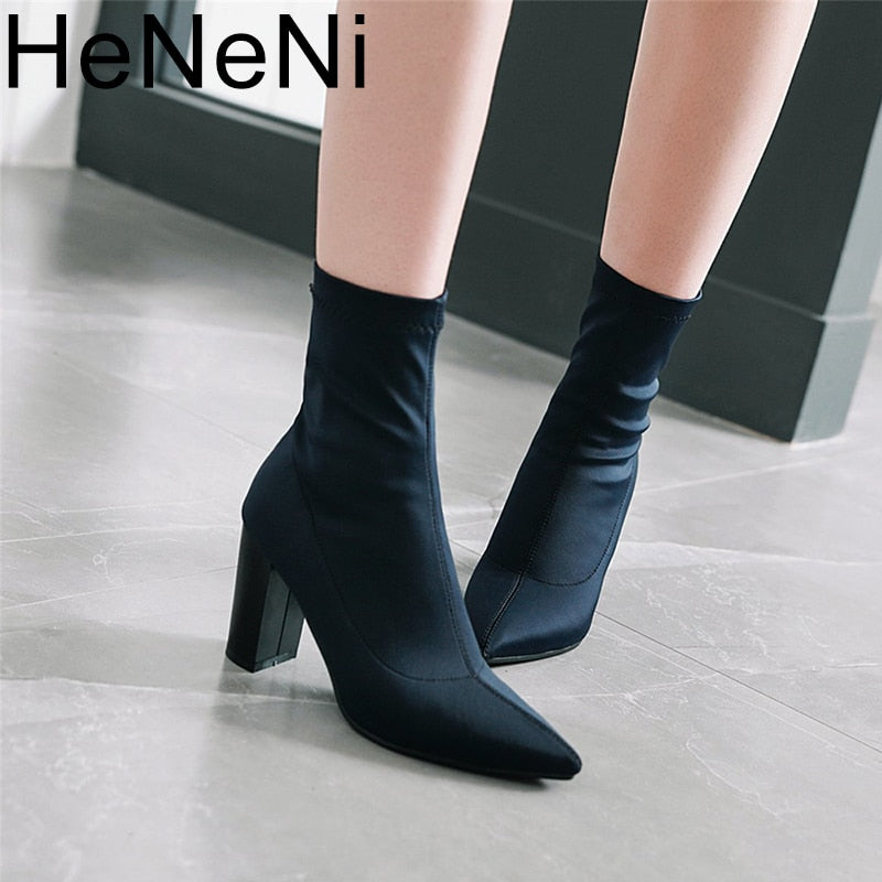 habazoo - Women's Boots Pointed Toe Yarn Elastic Ankle Boots Thick Heel High Heels Shoes Woman Female Socks Boots 2019 Spring Size 34-43 - Habazoo -