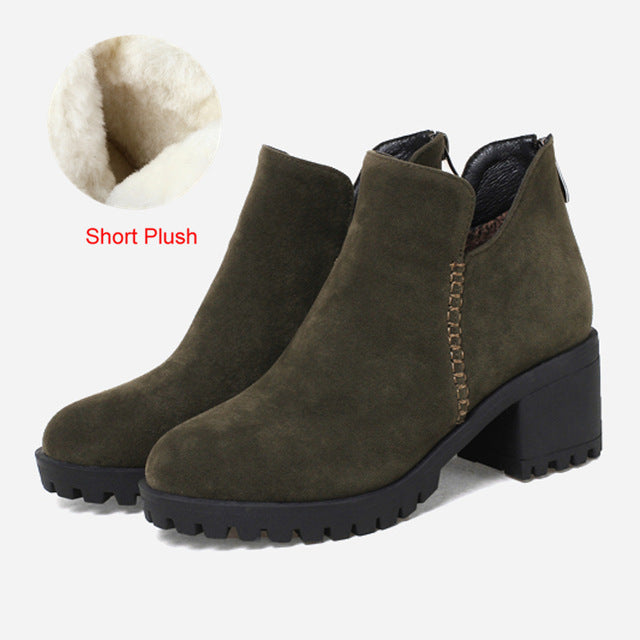 habazoo - Sungtin Women Plush Warm Winter Chelsea Boots Woman Solid Black Large Size High Heel Platform Ankle Boots Ladies Casual Booties - Habazoo -
