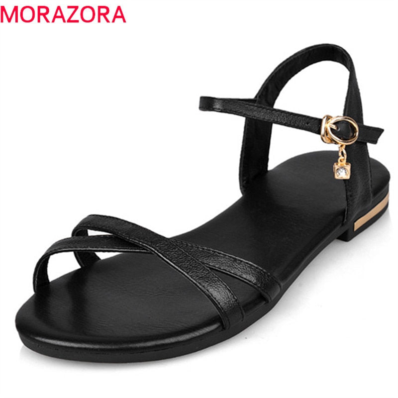 habazoo - women sandals simple buckle summer shoes genuine leather ladies comfortable flat sandals - Habazoo -