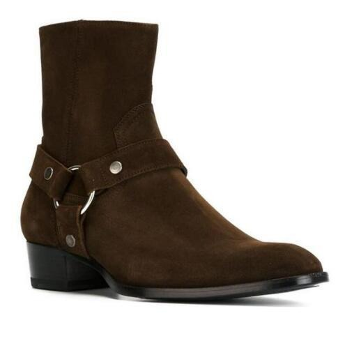 habazoo - Brand Luxury Quality Darker Brown Suede Buckle Strappy Chelsea Boot - Habazoo -