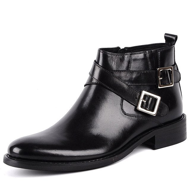 habazoo - New Pointed Toe Buckle Strap Ankle Boots Men Hombre Genuine Leather Men Motorcycle Boots For Men Work High Top Men Shoes - Habazoo -