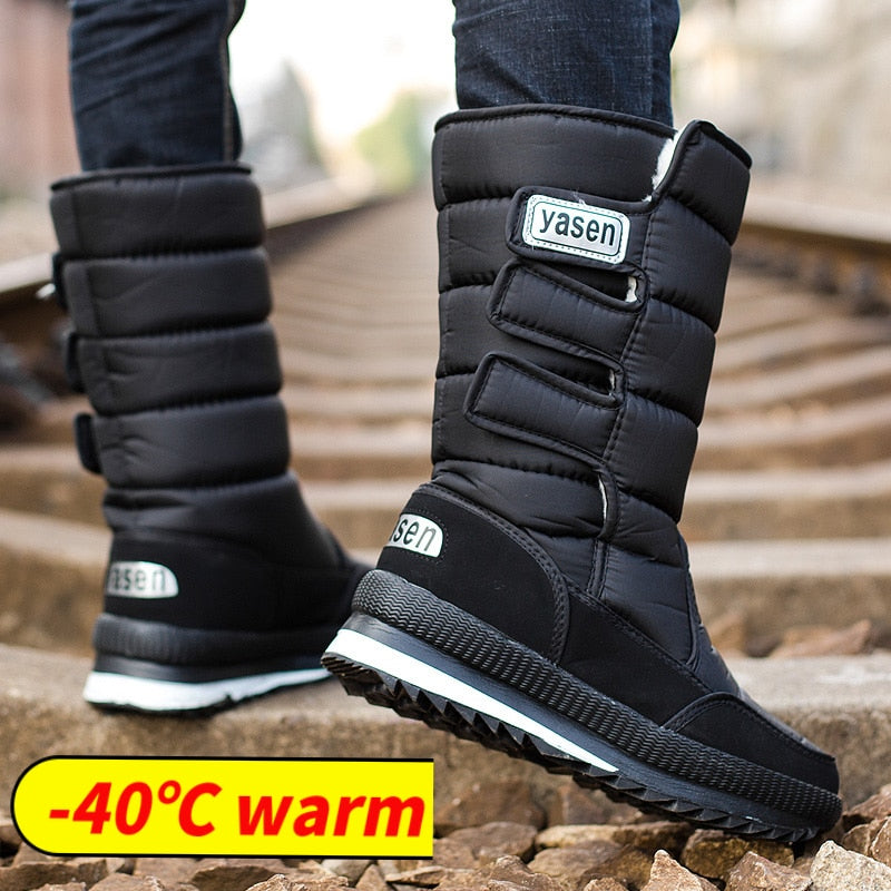 habazoo - snow boots men waterproof mens winter boots With Fur winter shoes slip-resistant Men Boots platform thick plush - Habazoo -