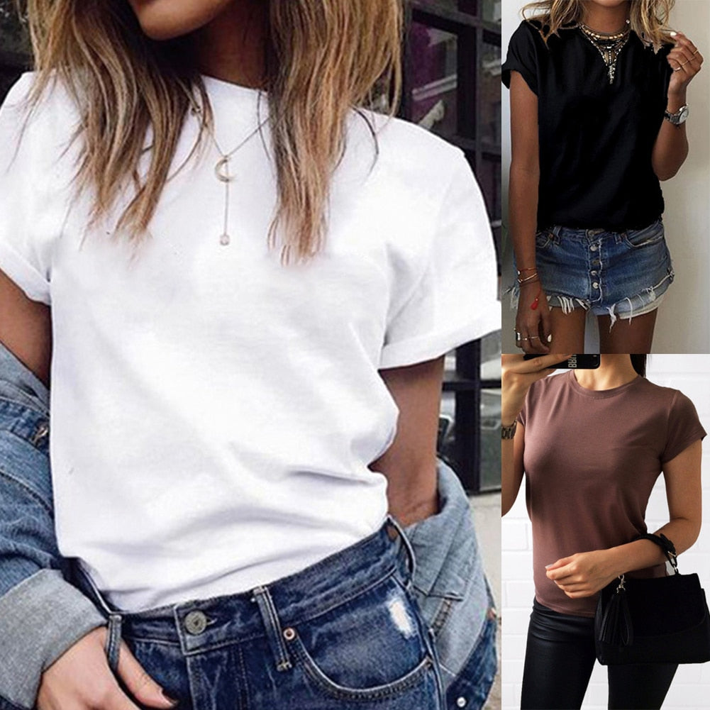 habazoo - white women tee tshirt clothes O-Neck Short Sleeve Female T-shirt Cotton Tops mujer verano 2019 Casual Summer Fashion Tee - Habazoo -