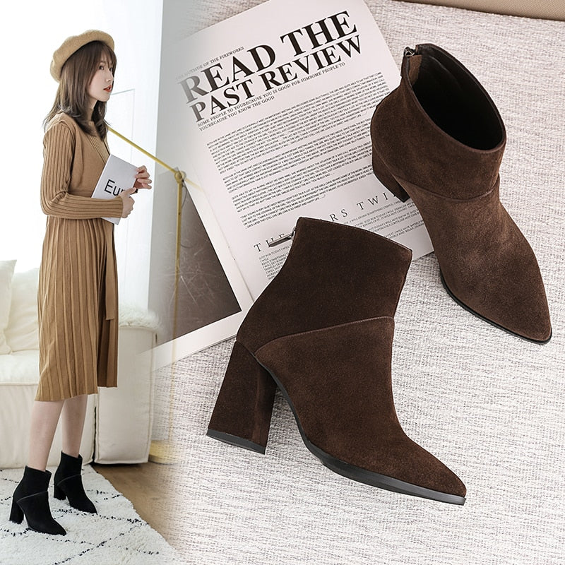 women Ankle boots Genuine Leather 22-25 cm feet length ankle boots for women pointed toe side zipper winter shoes women