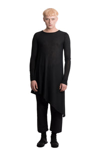Asymmetric black cotton top - Ludus Agender Label