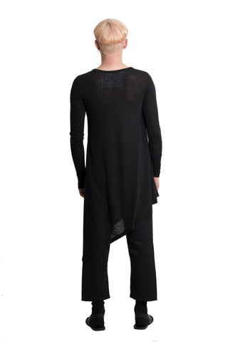 Asymmetric black cotton top