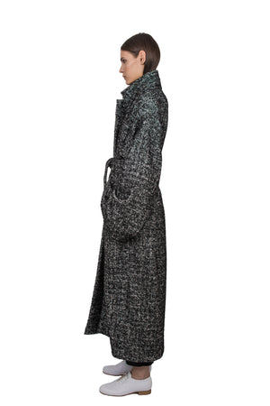 Black & White Wool Overcoat - Ludus Agender Label