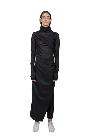 Folded black cotton top - Ludus Agender Label