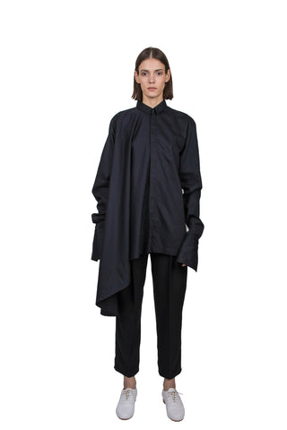Black asymmetric circle shirt