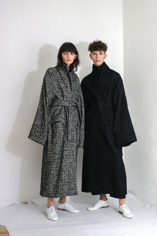 Black & White Wool Overcoat
