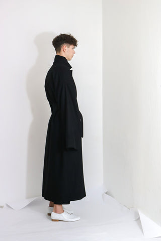 Black Wool Overcoat - Ludus Agender Label