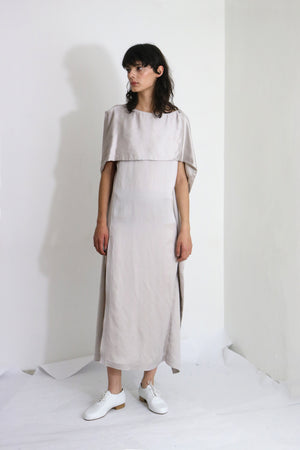 Grey Cotton Satin Dress