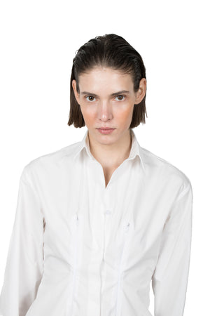 White Slashed Long-sleeved Shirt - Ludus Agender Label