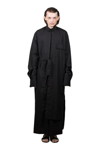 Black Elongated Asymmetric Shirt - Ludus Agender Label
