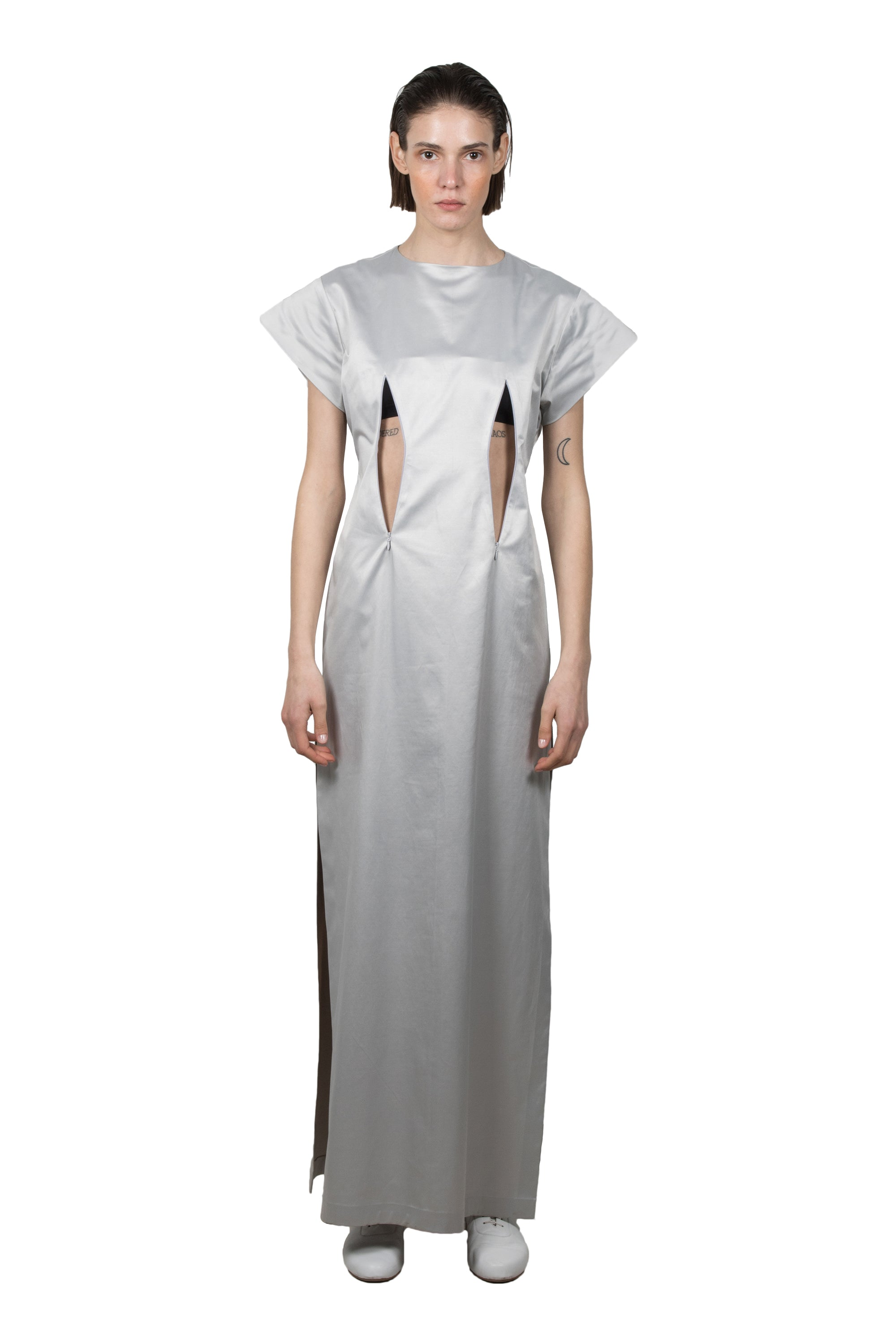 Silver Slashed Short-sleeved Dress - Ludus Agender Label