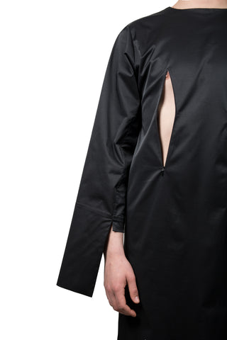Black Slashed Long-sleeved Dress - Ludus Agender Label