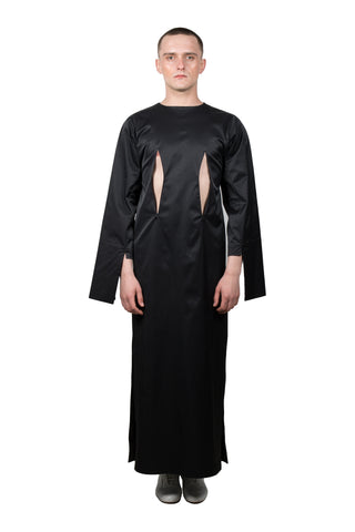 Black Slashed Long-sleeved Dress