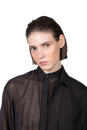 Black Transparent Asymmetric Shirt - Ludus Agender Label