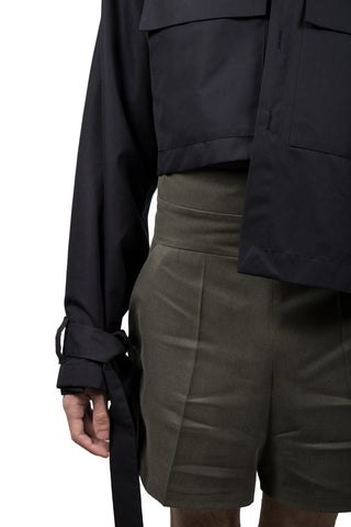Black Cotton Asymmetric Jacket - Ludus Agender Label
