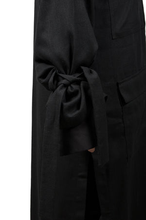 Black Flax Asymmetric Coat - Ludus Agender Label
