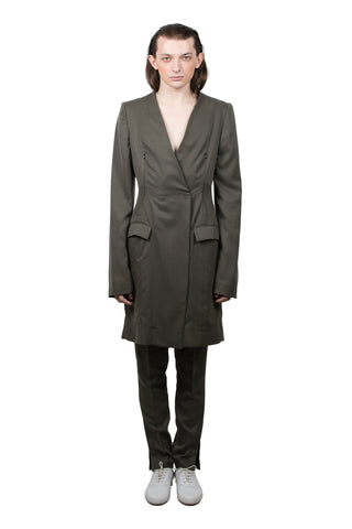 Olive Slashed Tailored  Jacket - Ludus Agender Label